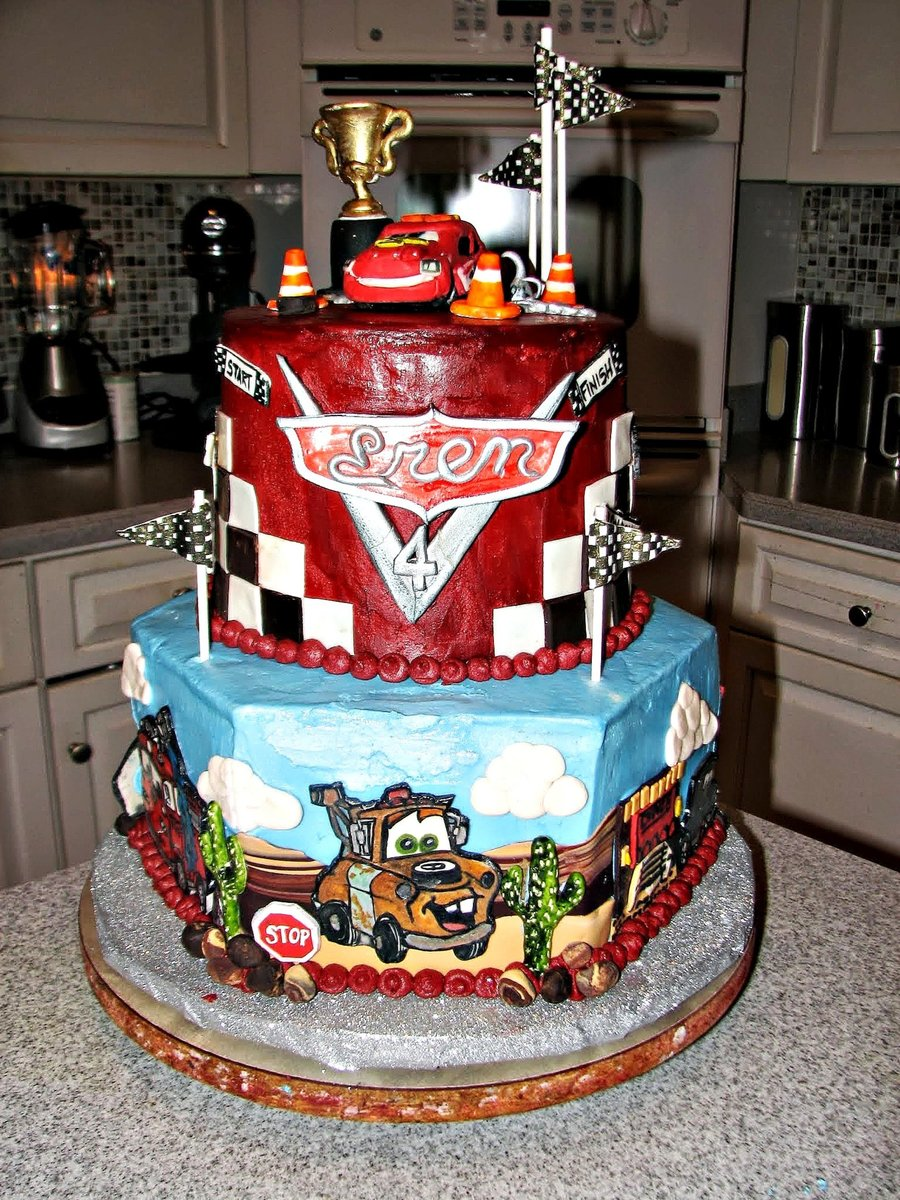 Disney Cars 2 4th Birthday Cake The Top Tier Was