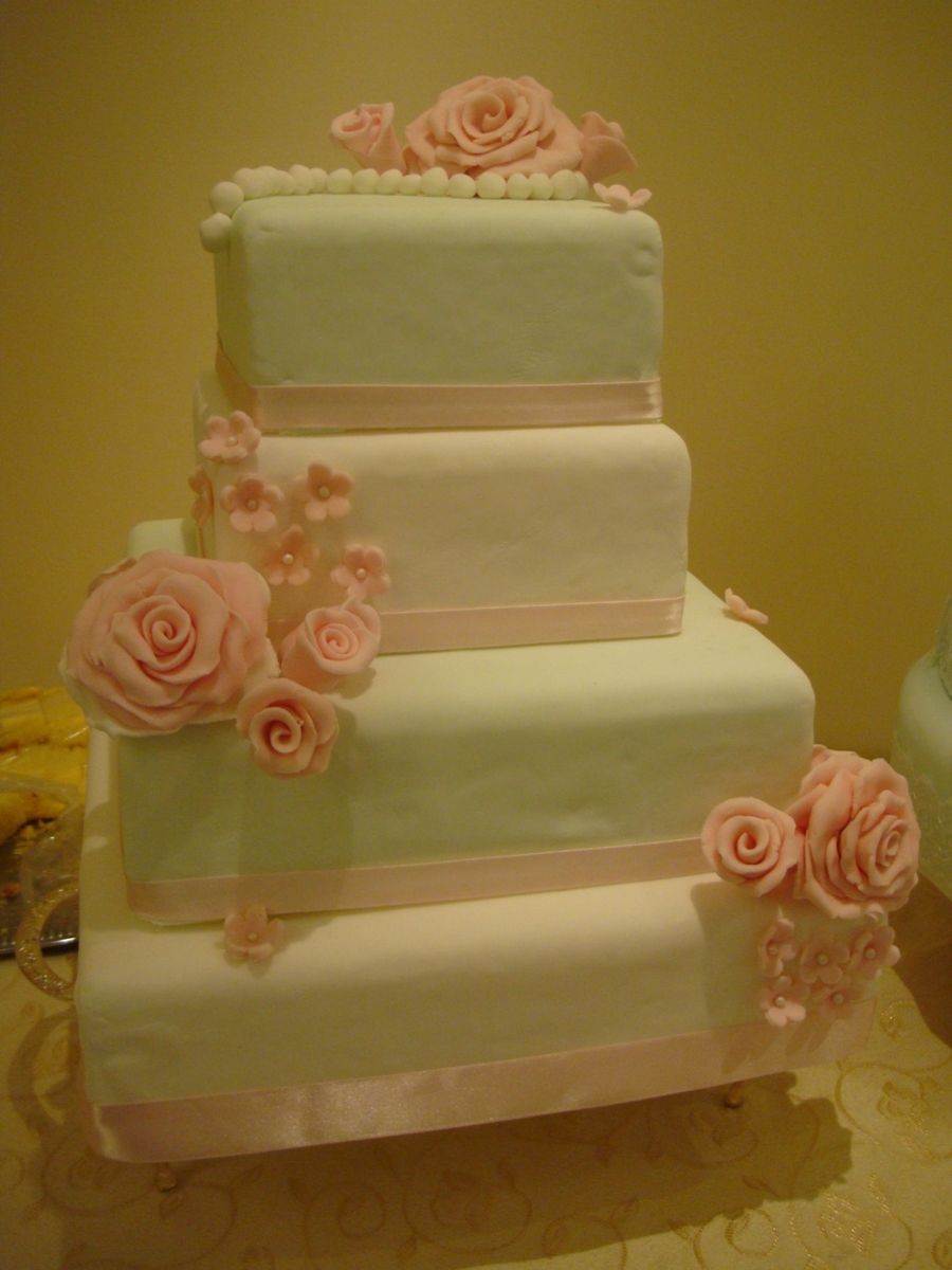 Vintage Rose Wedding Cake  on Cake Central
