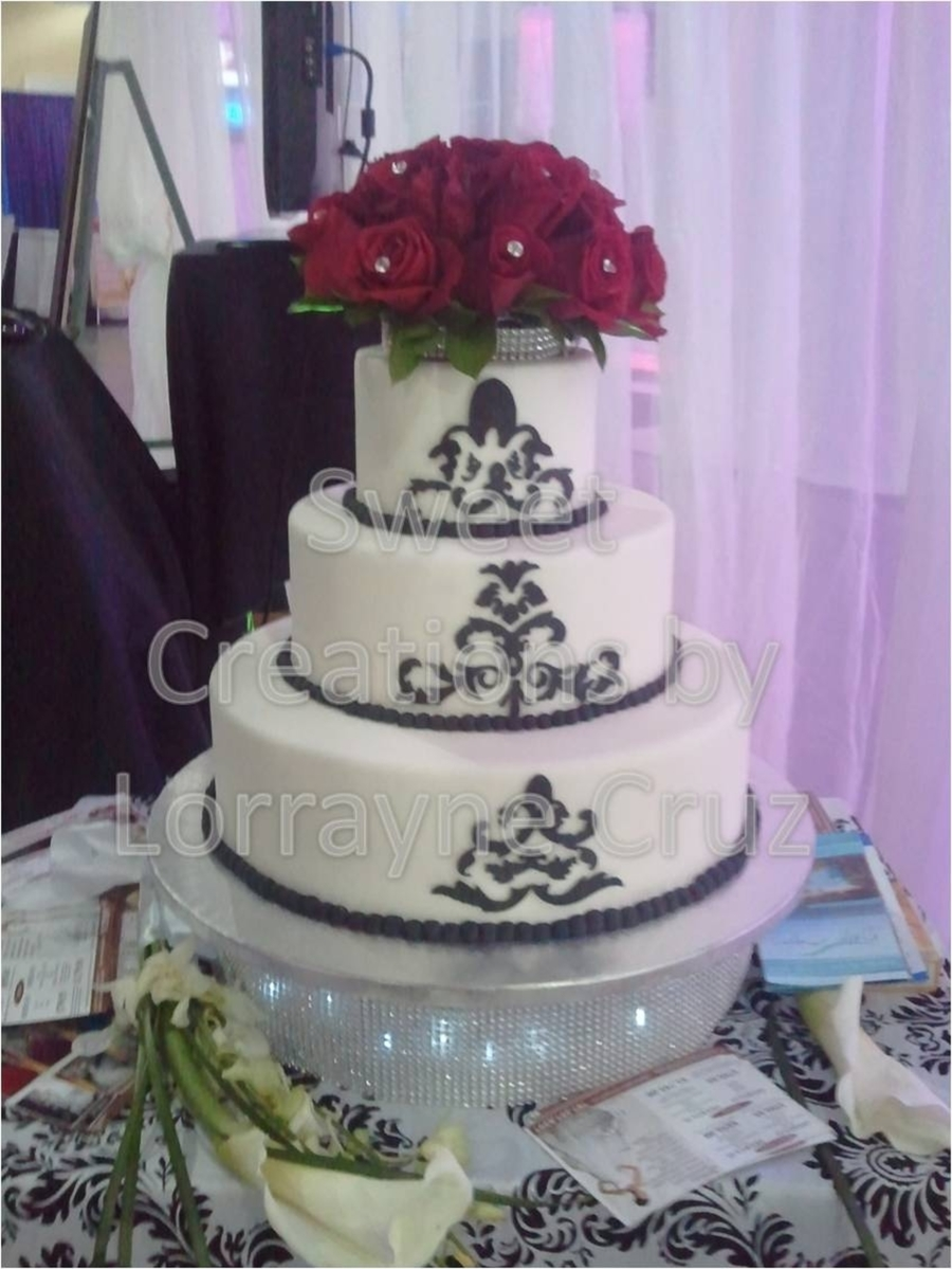 Simple Black And While Damask Cake on Cake Central