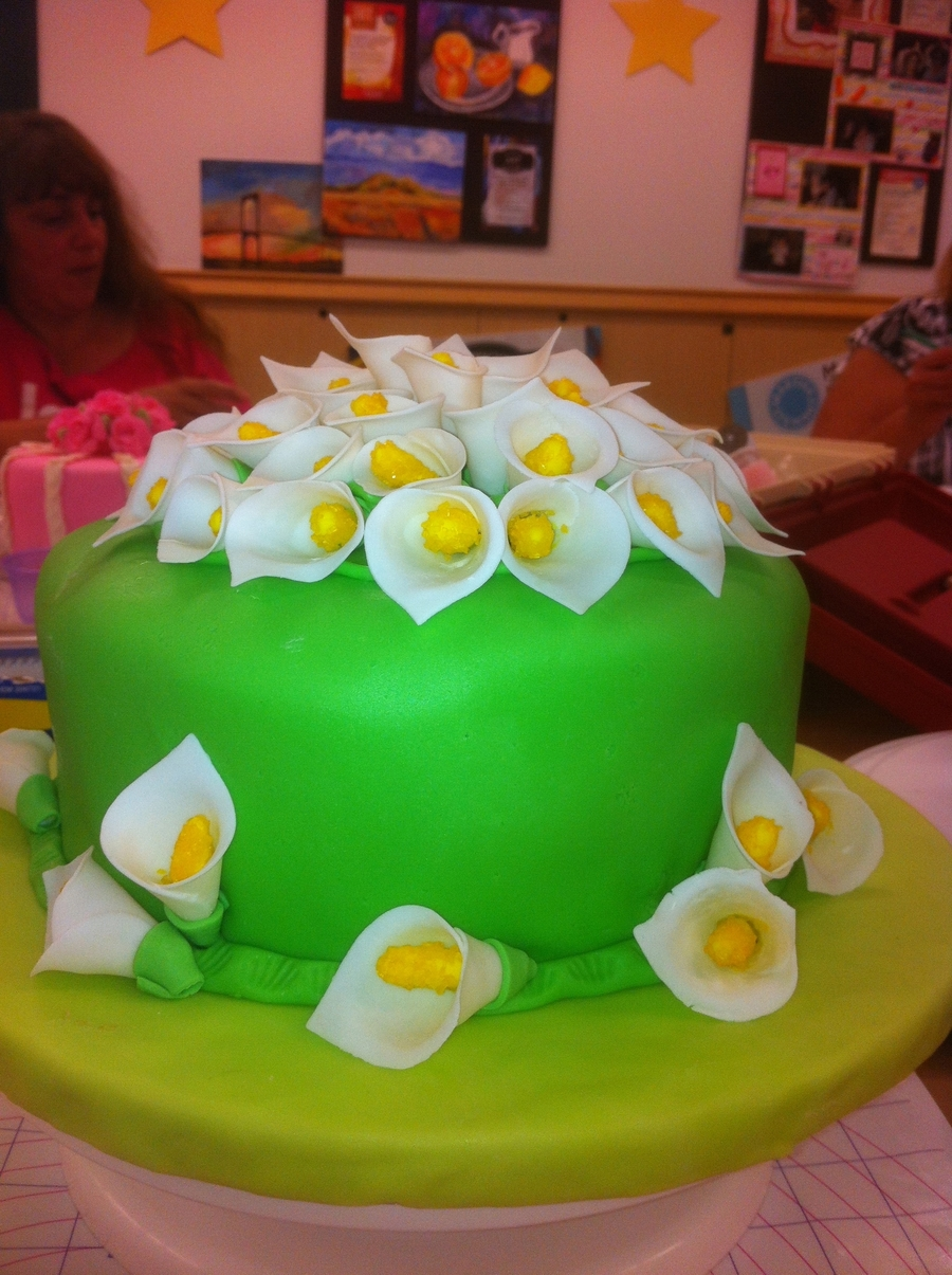Fondant And Cala Lilies on Cake Central