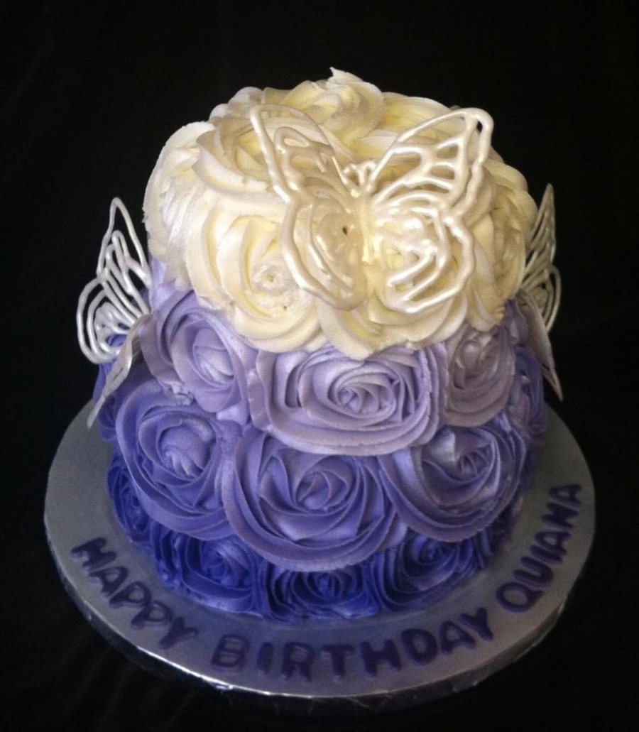 Ombre Rose Cake With White Chocolate Butterflies Cakecentral Com