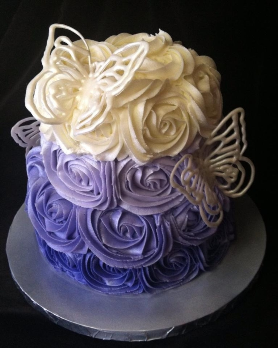 Purple Ombre Cake With White Chocolate Butterflies on Cake Central