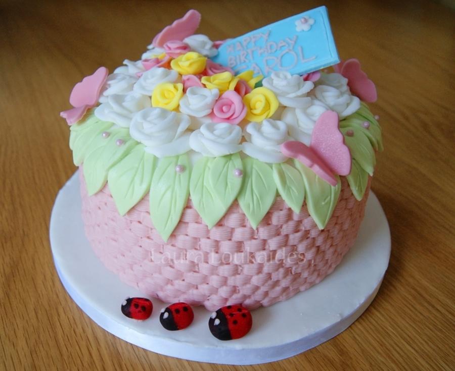 Flower Basket Mothers Day Cake : Flower basket cake cakecentral