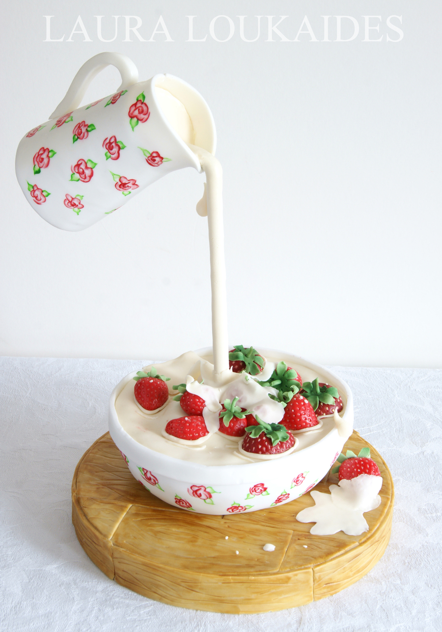 Strawberries & Cream Gravity Defying Cake on Cake Central
