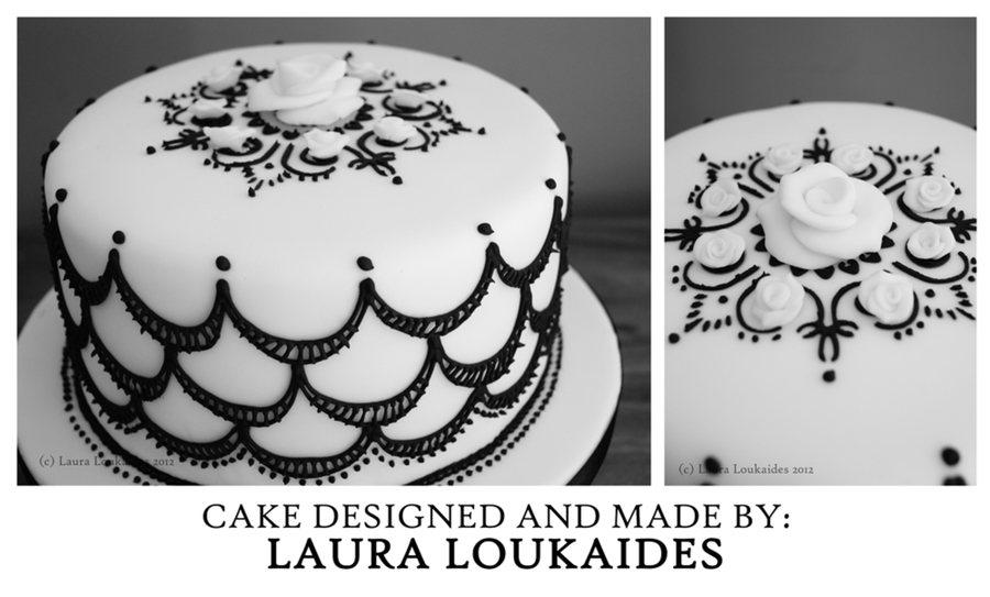 Black And White, Vintage Style Cake. on Cake Central