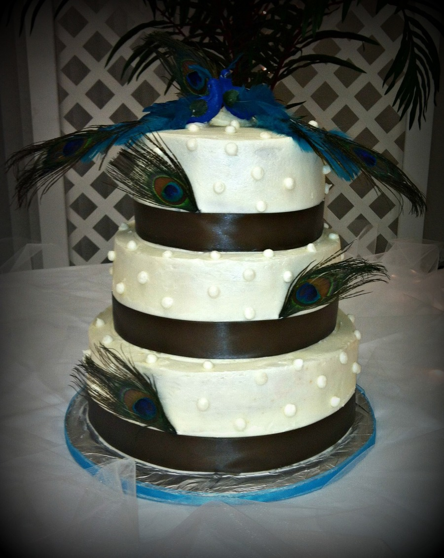 3 Tiered Pea Themed Wedding Cake on Cake Central
