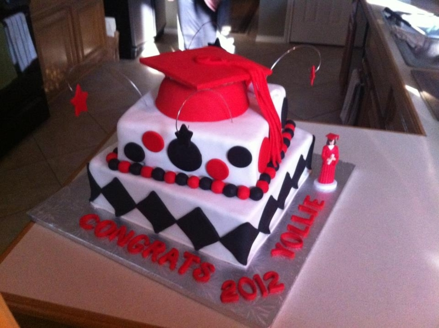 Red, White And Black Graduation Cake on Cake Central
