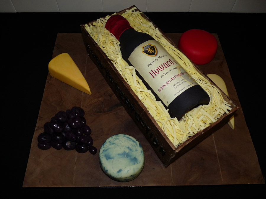 Wine Bottle In Crate Cake on Cake Central