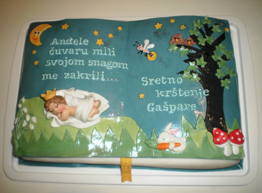 Baby Book With A Prayer To Guardian Angel - Christening Cake on Cake Central