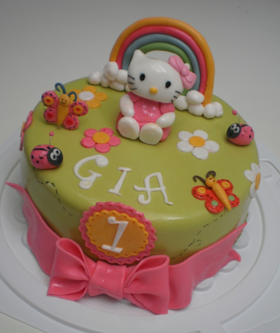 Sensational Hello Kitty First Birthday Cake Cakecentral Com Funny Birthday Cards Online Inifodamsfinfo