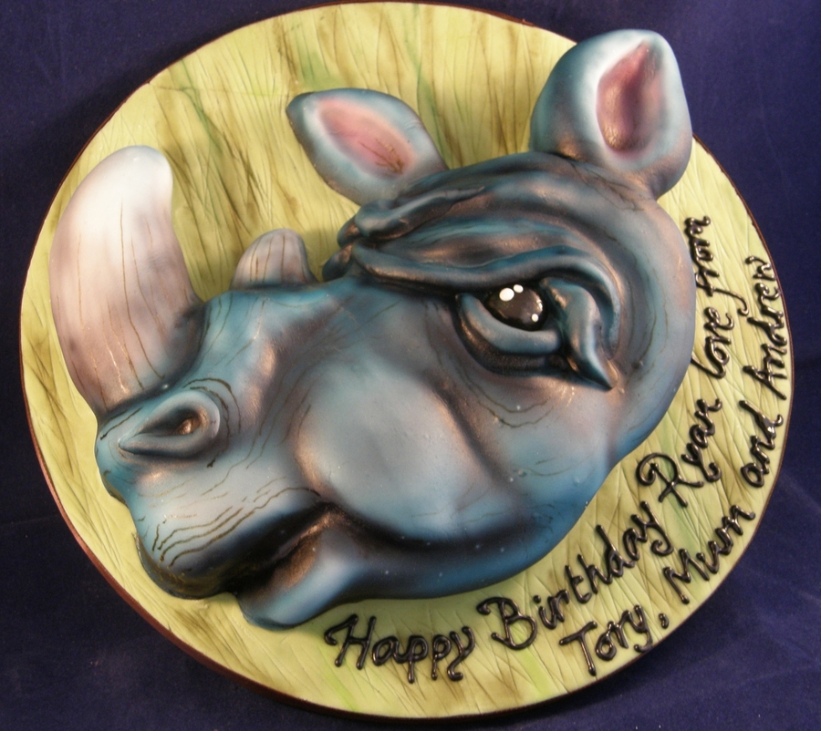 Airbrushed Rhino Cake on Cake Central