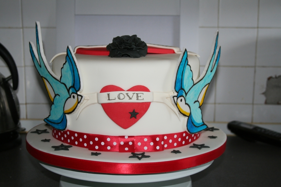 Retro/rockabilly Wedding Cake  on Cake Central