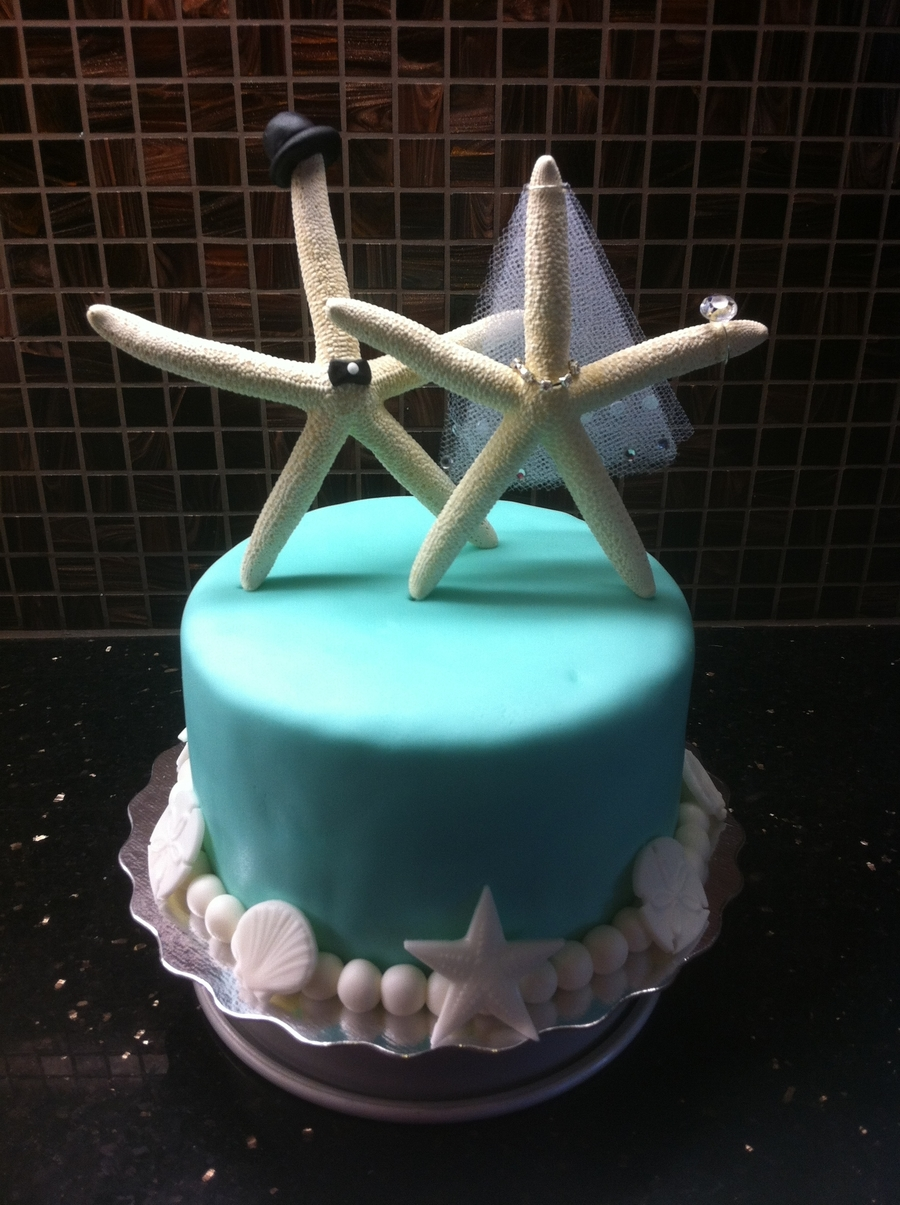 Wedding Cake Bride Groom Beach Starfish Cakecentral Com