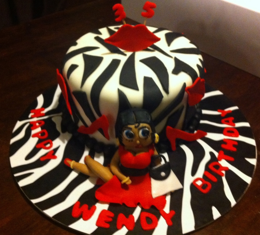 Zebra Betty Boop Cake on Cake Central