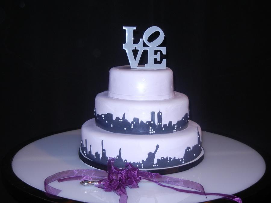 Love New York Skyline Wedding Cake CakeCentralcom