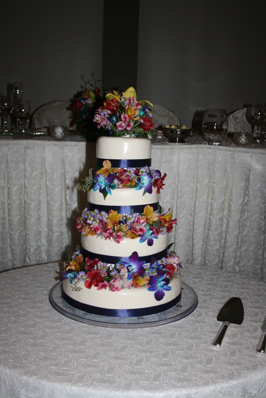 This Was An Amazing Cake For A Beautiful Bride I Loved The Real Flowers And The Floating Tiers on Cake Central