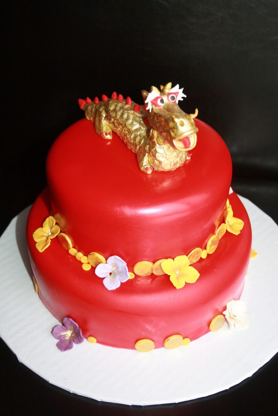 Happy Chinese New Year With A Gold Dragon And Gold Coins on Cake Central