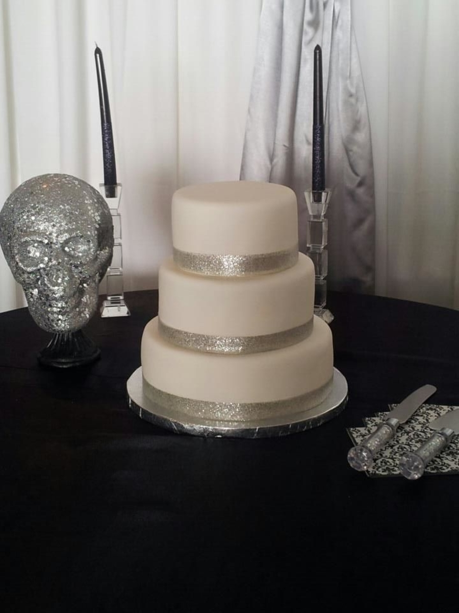 White/silver Wedding Cake on Cake Central