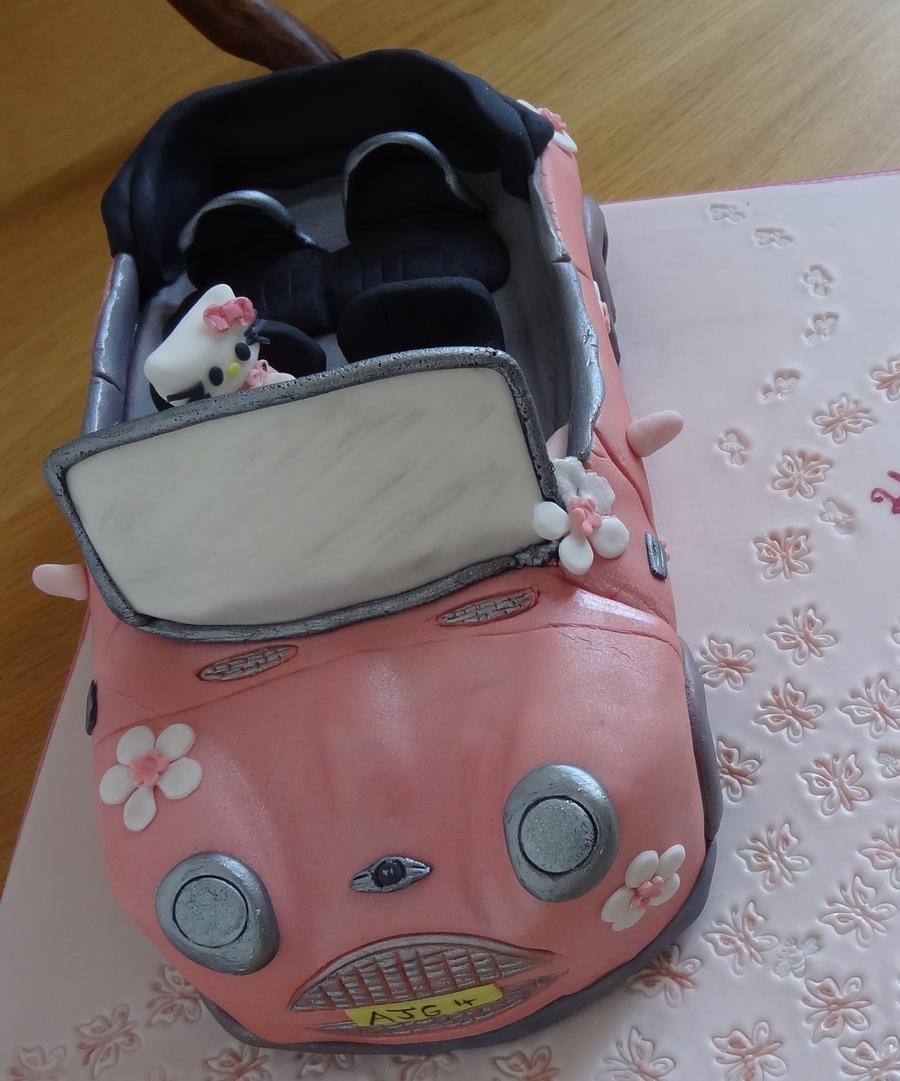 Hello Kitty Mini Cooper Car Cake - CakeCentral.com