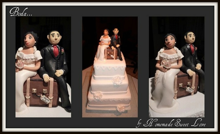 Bride And Groom In A Suitcase...  on Cake Central