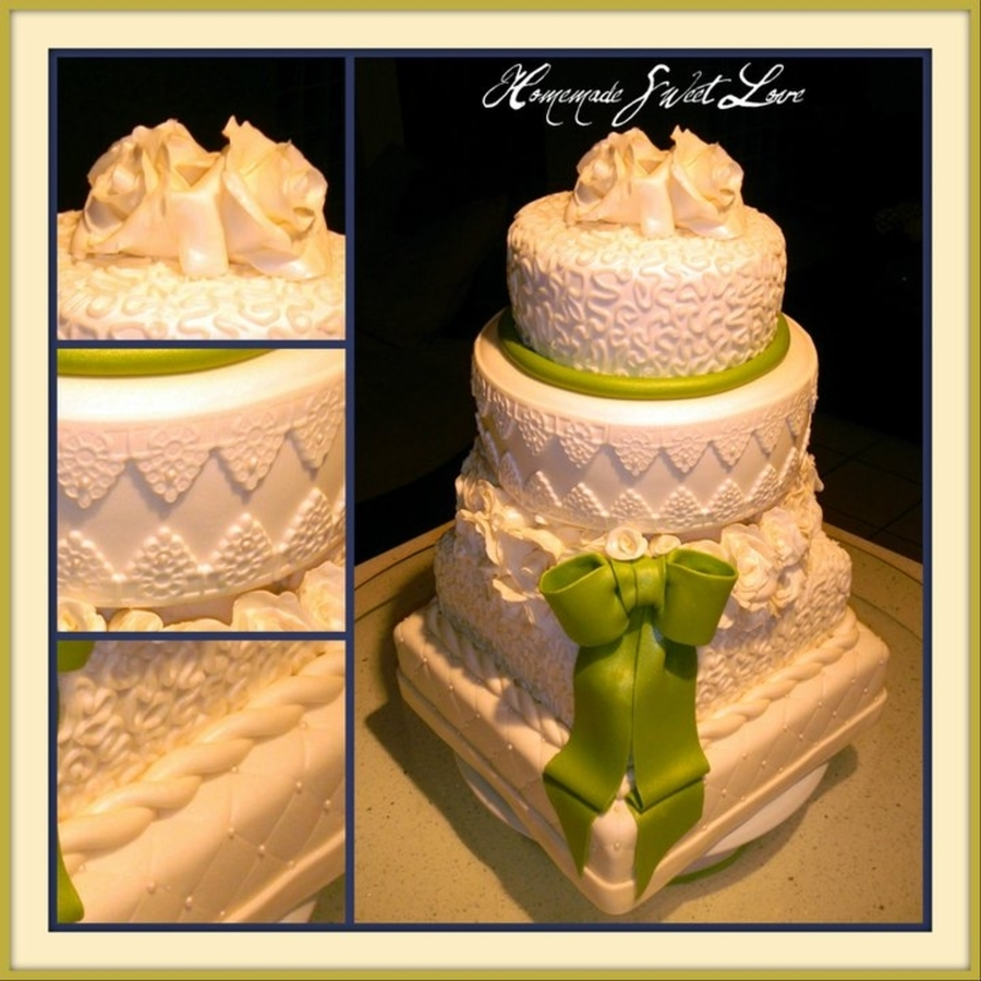 Green Bow Wedding on Cake Central
