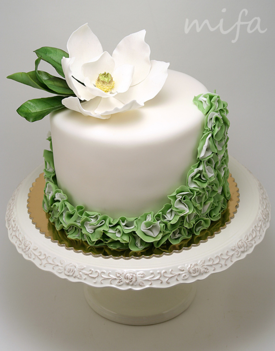 Southern Magnolia Ruffle Cake Cakecentral