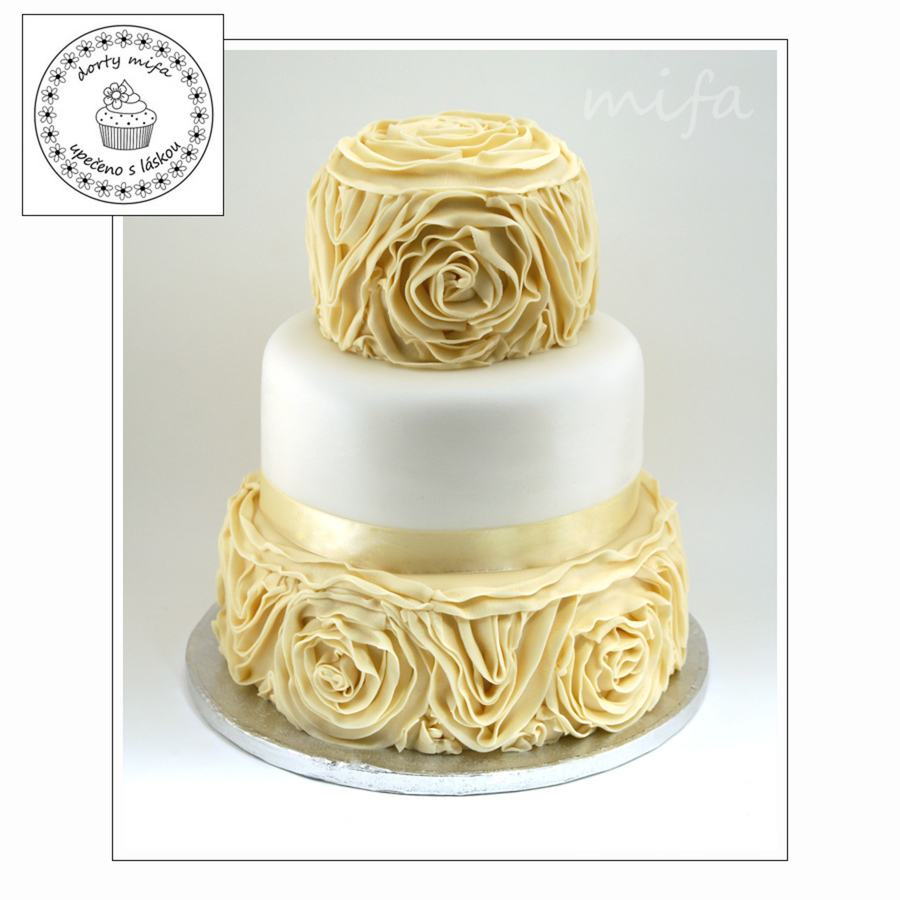 Ivory Ruffle Wedding Cake on Cake Central