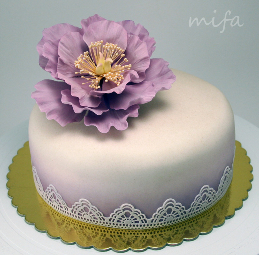 Purple Peony Cake on Cake Central