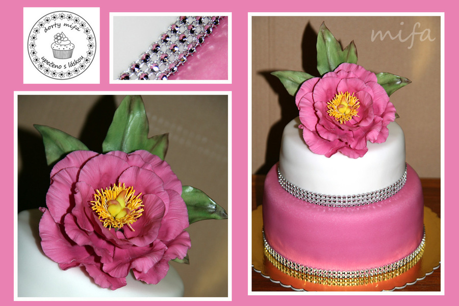 Double Tier Cake With Peony  on Cake Central