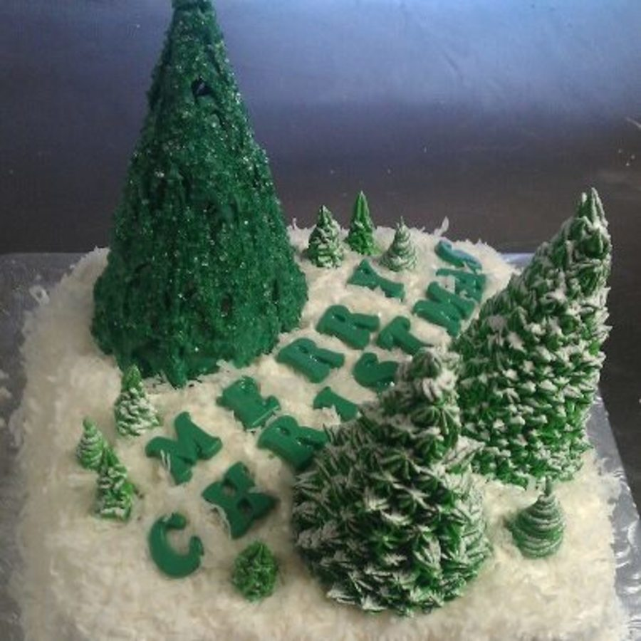 Coconut Christmas Cake Royal Icing And Candy Melt Trees on Cake Central