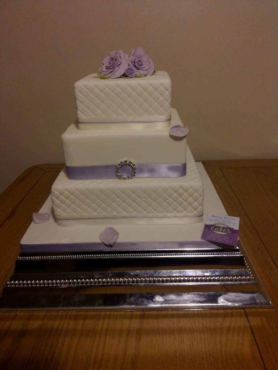 Lilac Roses Wedding Cake on Cake Central