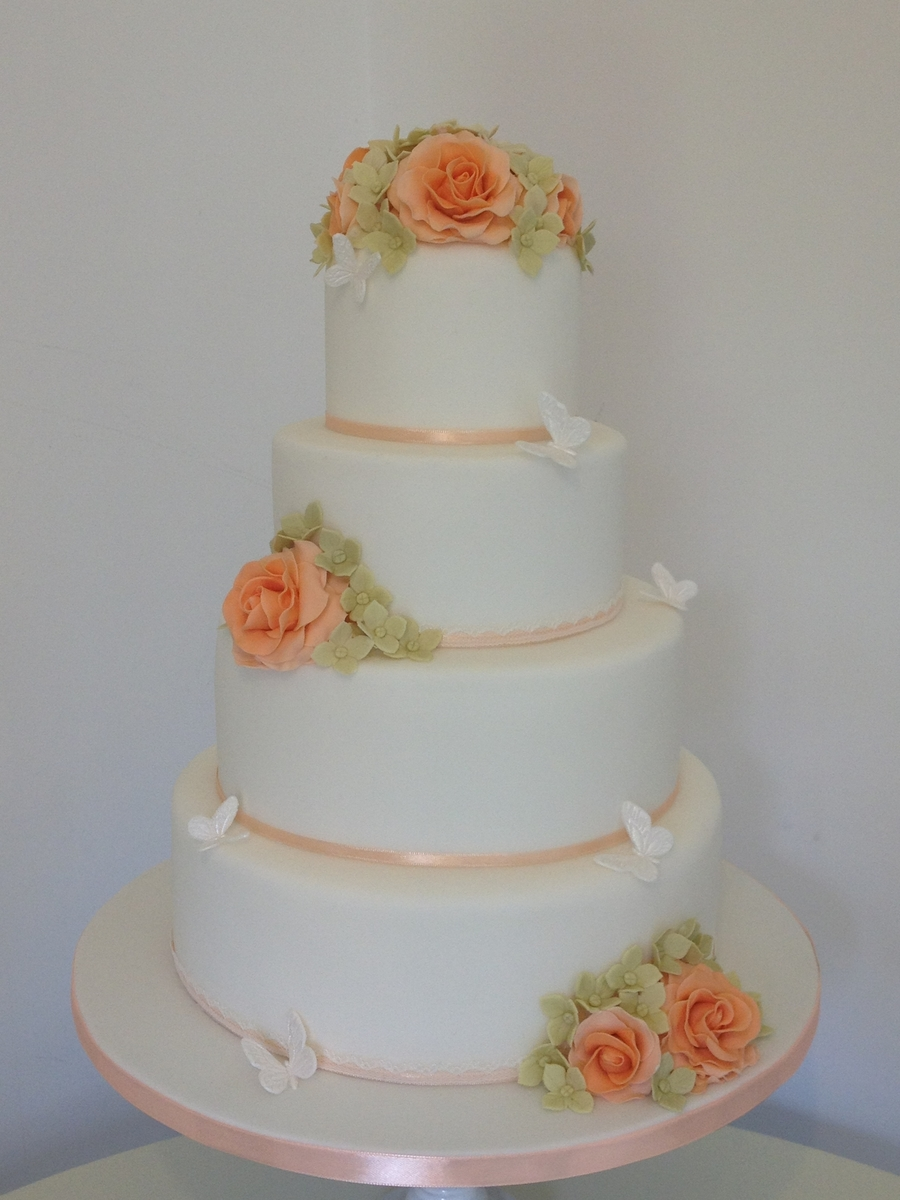 Peach Roses, Hydrangeas & Butterfly Wedding Cake on Cake Central