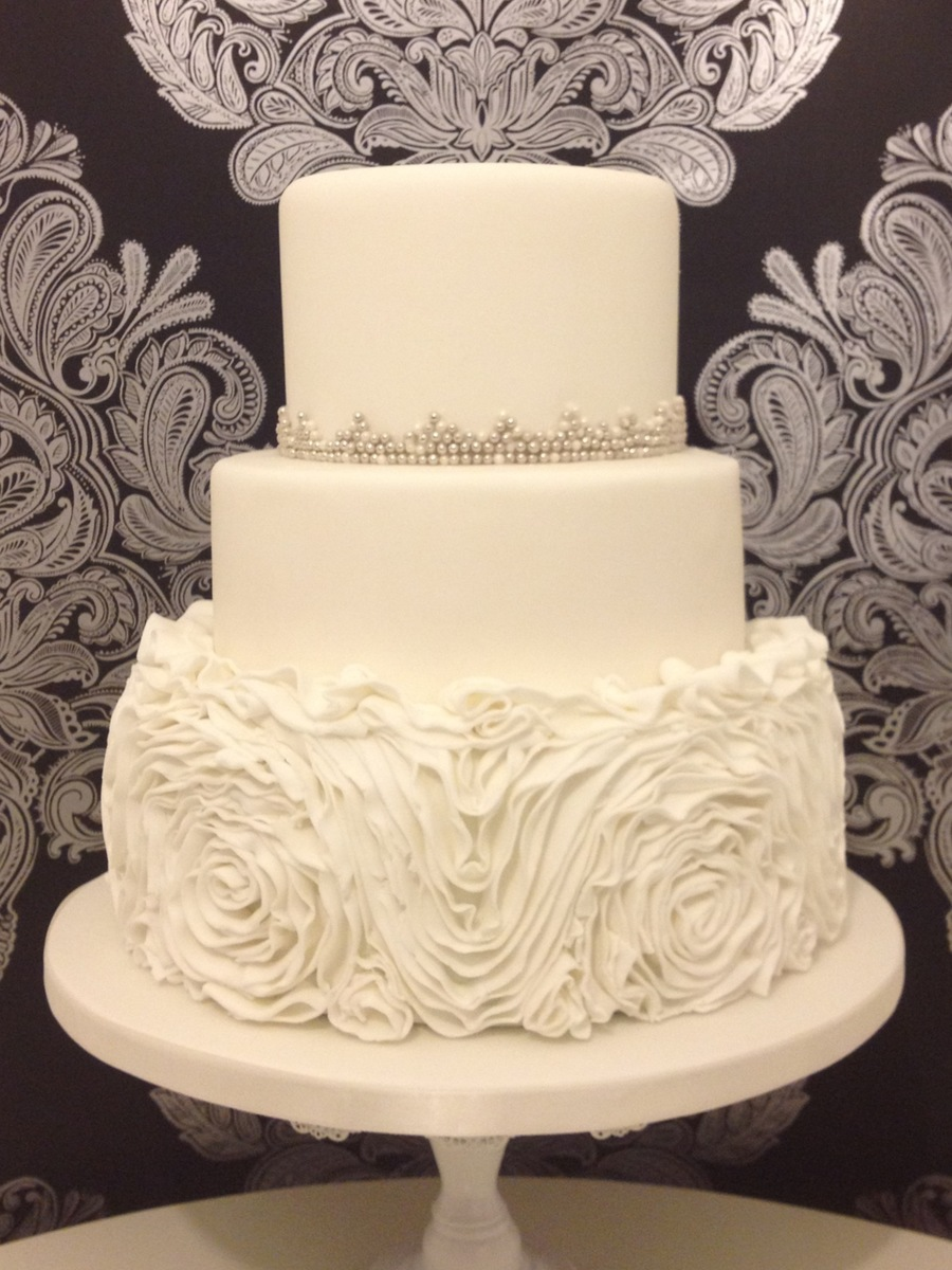 Ruffle Roses Wedding Cake on Cake Central