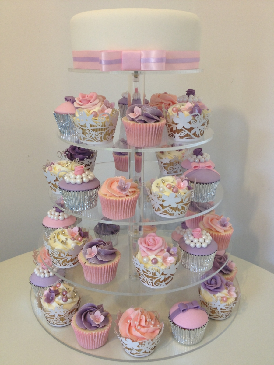 wedding pink amp purple cupcake tower cakecentralcom