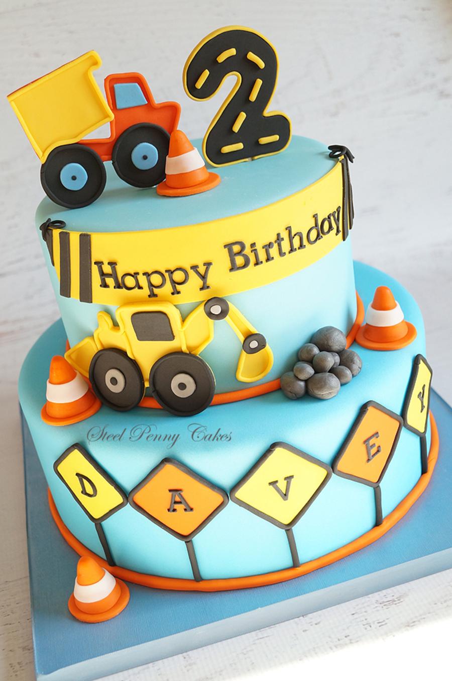 Brilliant Construction Themed 2Nd Birthday Cake Inspired By The Party Decor Funny Birthday Cards Online Fluifree Goldxyz