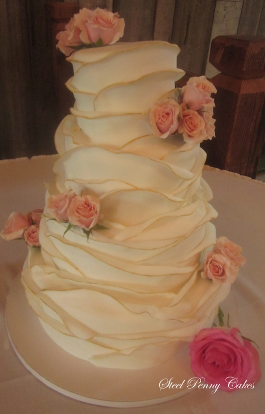 Fondant Wrapped Layers Wedding Cake Cakecentral Com