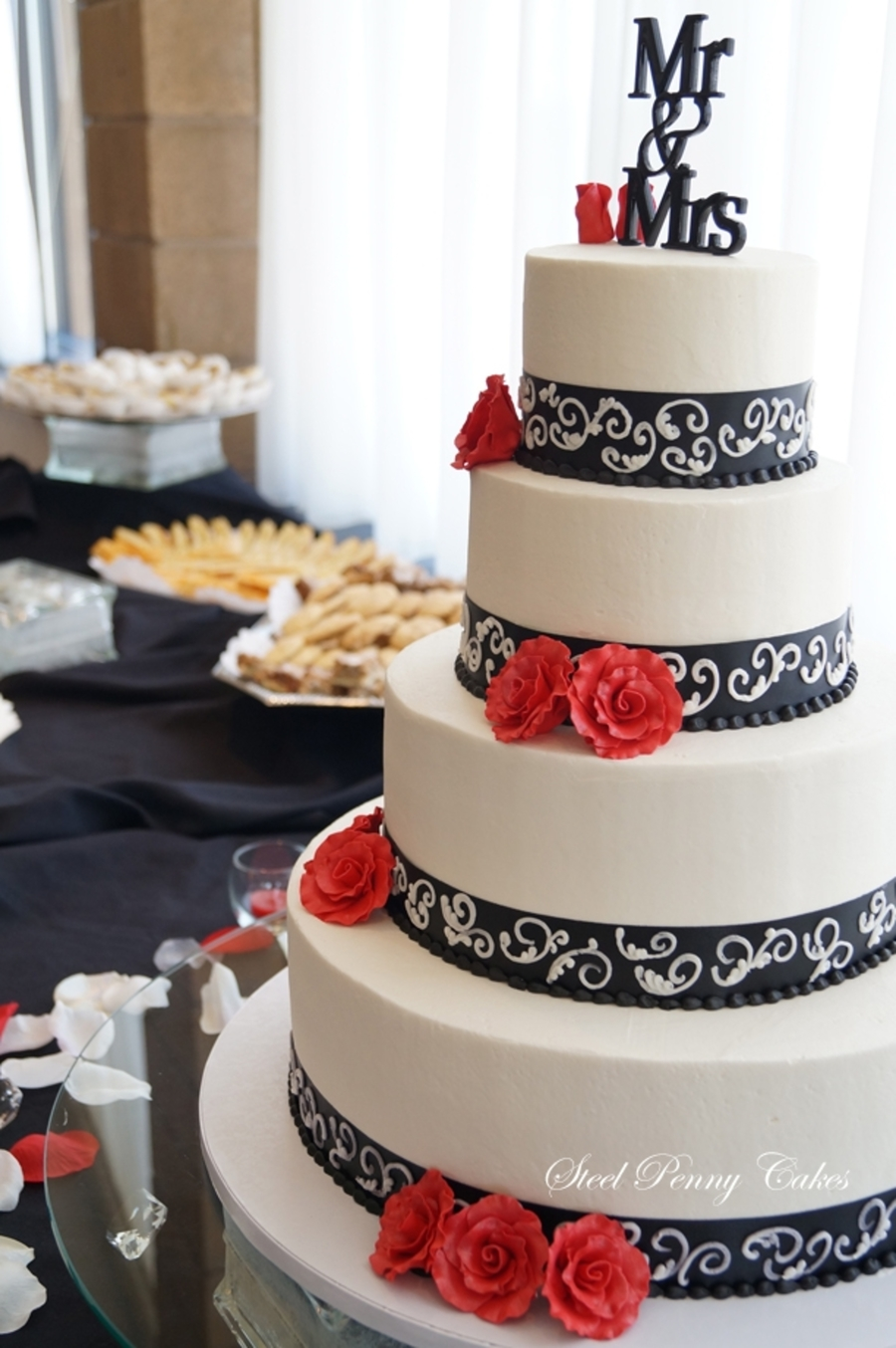 Ivory And Navy Wedding Cakes