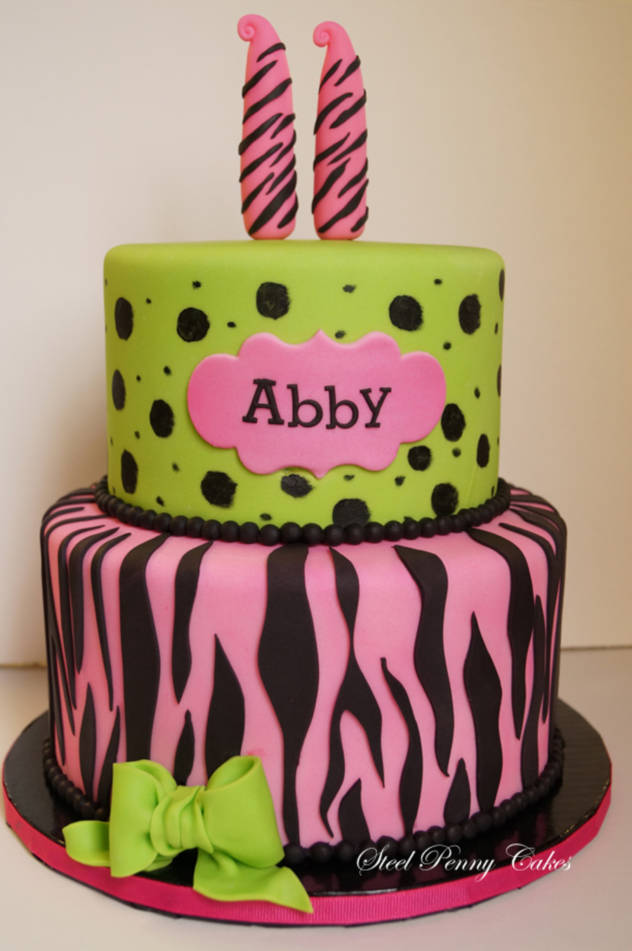 Pink Zebra And Cheetah 11th Birthday Cake Cakecentral