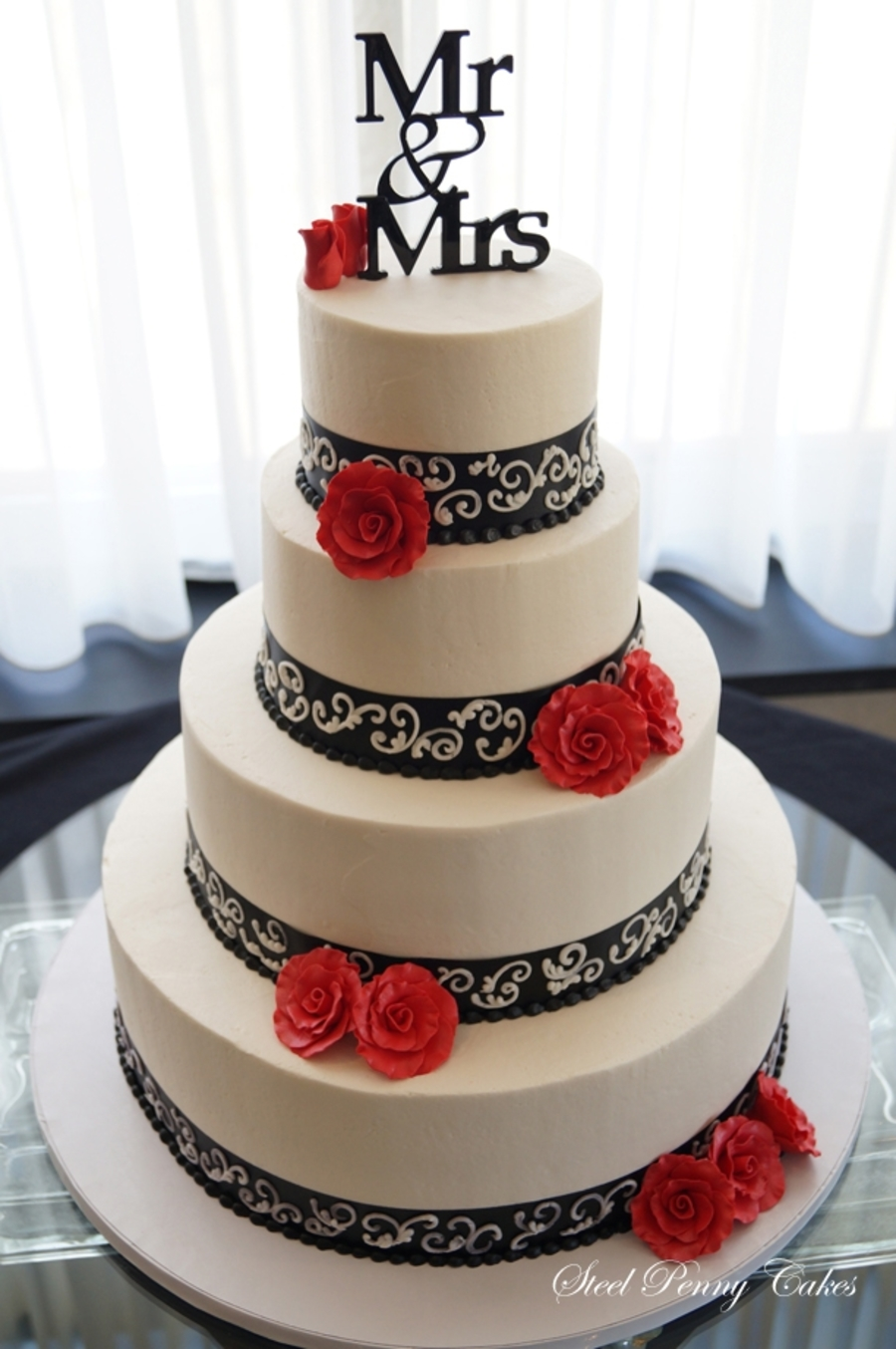 red black and silver wedding cake black and ivory wedding cakecentral 19109