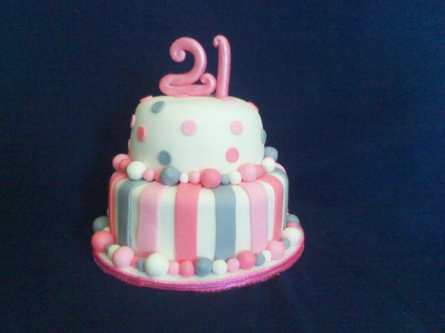 Pink And Gray 21St Birthday Cake  on Cake Central