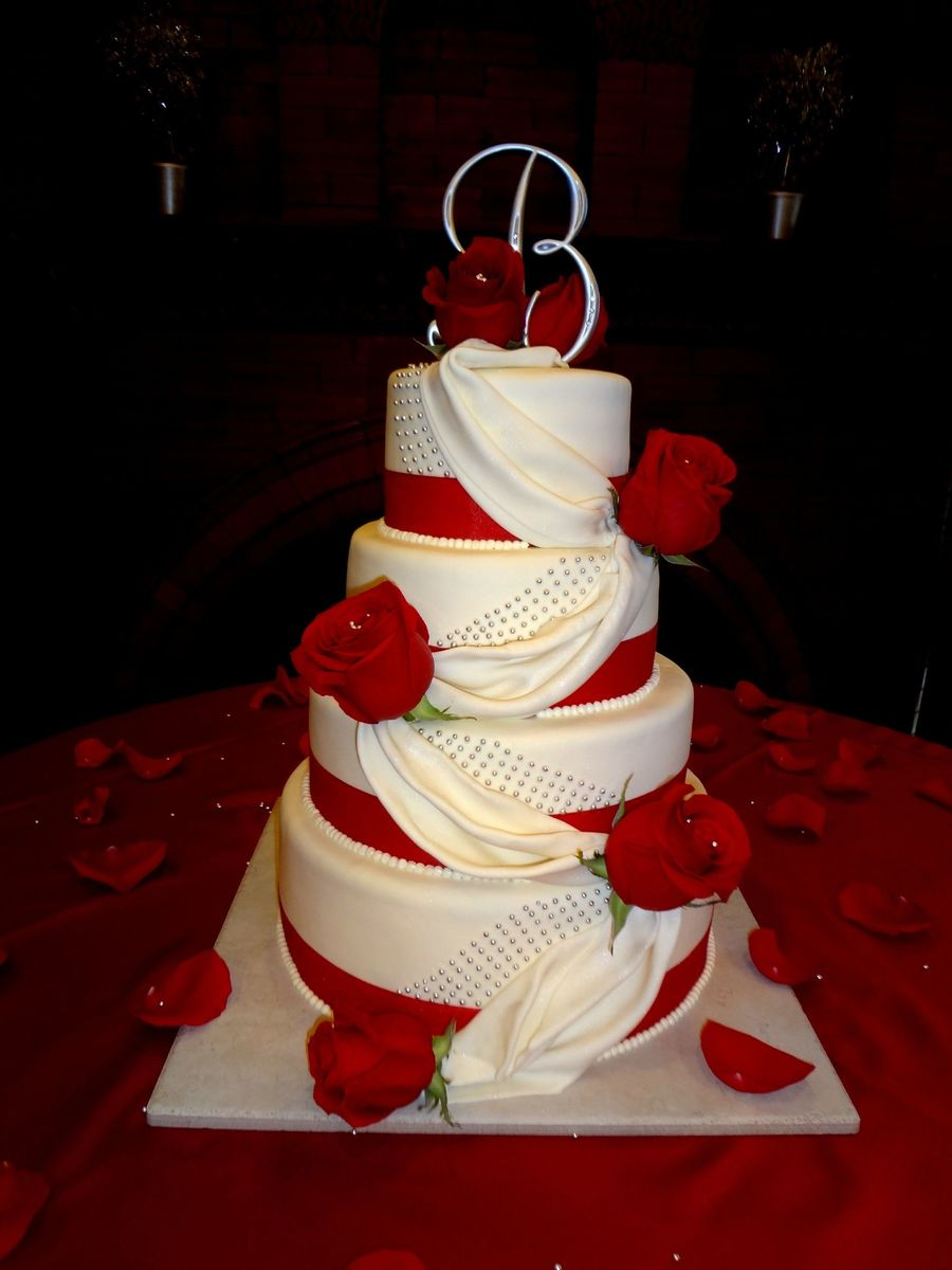 Rosesdraping Wedding Cake  on Cake Central