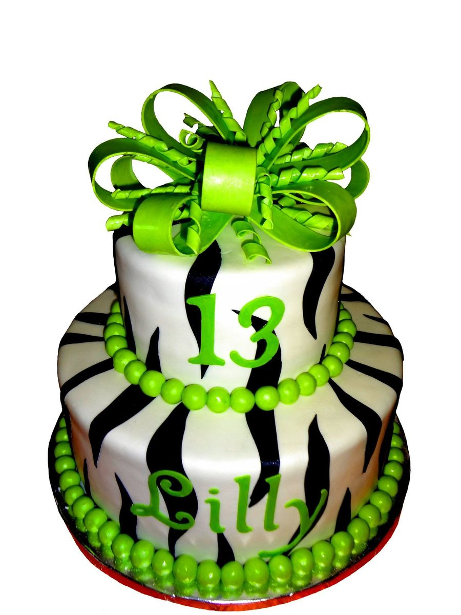 Zebra Striped Birthday Cake on Cake Central