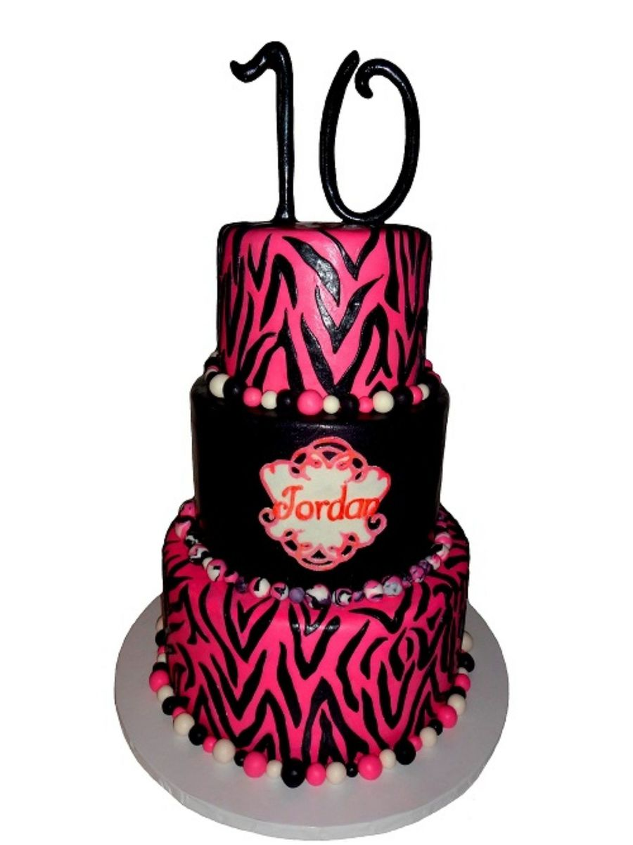 Pink Zebra Striped 10th Birthday Cake Cakecentral