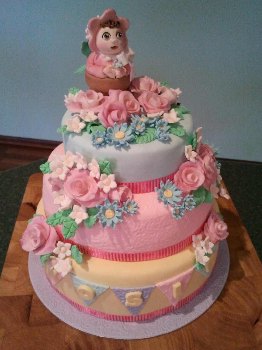 Roses And Bunting Cake  on Cake Central