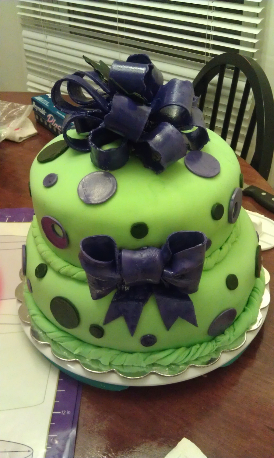 Green And Purple Baby Shower Cake Cakecentral Com