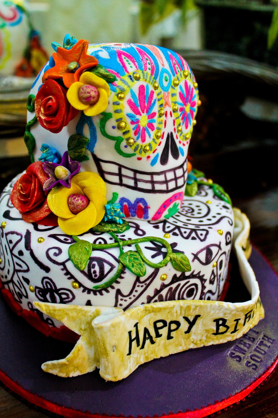 Day Of The Dead Inspired Birthday Cake Cakecentral