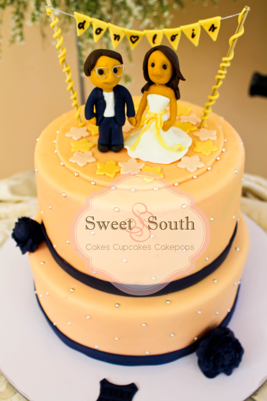 Peach And Blue Wedding Cake on Cake Central