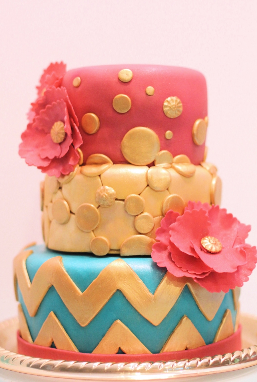 Modern Chevron Birthday Cake CakeCentralcom