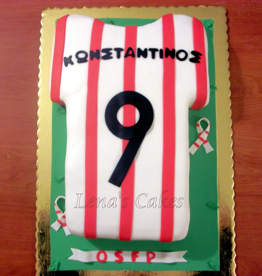 Birthday Cake For 9 Year Old Konstantinos With The Shirt Of His Favourite Football Team Osfp on Cake Central