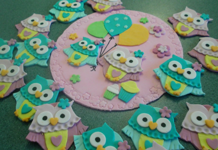 Sugarpaste Cupcake And Cake Toppers Designed To Match The Invites For A Little Girls Birthday Owls Were Individually Handcut on Cake Central
